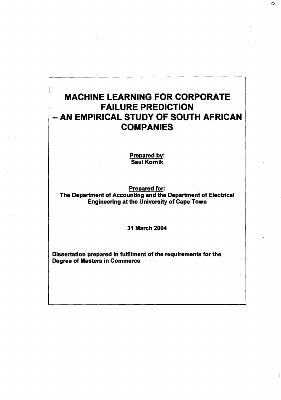 Machine learning for corporate failure prediction : an empirical