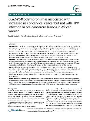 Browsing by Author  quot Williamson  Anna Lise quot  OpenUCT CCR  V  I polymorphism is associated with increased risk of cervical cancer but not with HPV infection or pre cancerous lesions in African women