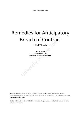 anticipatory breach of contract remedies