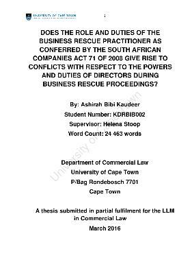 Business law dissertation
